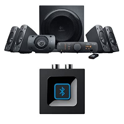 Logitech Z906 5.1 Surround Sound Speaker System, THX, Dolby & DTS Certified, 1000 Watts Peak Power,PC/PS4/Xbox/Music Player/TV/Smartphone/Tablet + Bluetooth Receiver/Bluetooth Audio Adapter by