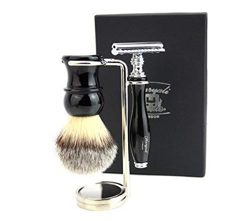 Vintage de luxe kit de rasage (synthétique Brosse à cheveux, rasoir de sécurité, support en acier)