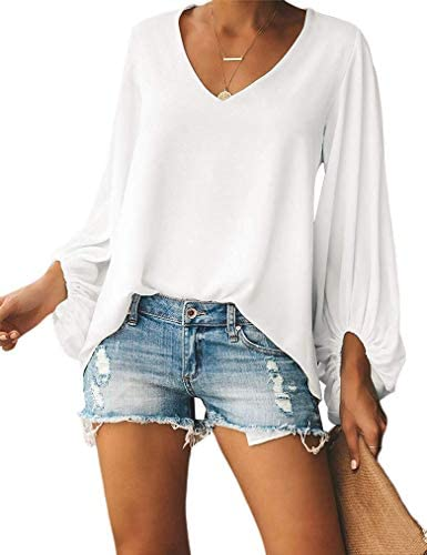 Plus Size Ladies Fashion 2019 Fall Flower Print Loose Shirts Lantern Sleeve V Neck Tunics Blouses product image