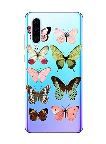 Oihxse Silicone Transparente Case avec Motif Papillon Compatible pour Motorola Moto G7 Play Coque Souple TPU Gel Mode 3D Dessin Étui Ultra Mince Antichoc Anti-Rayures Protection Cover,Multicolore 1