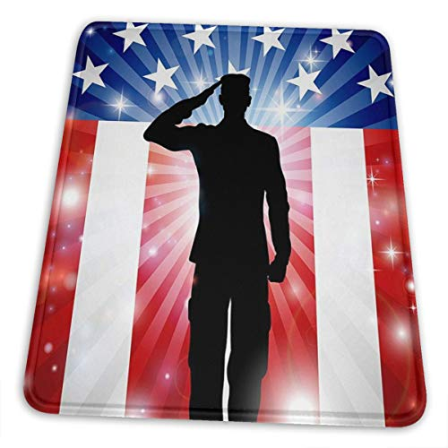 Gaming Mouse Pad - American Soldier Flag Rectangle Rubber Mousepad - 10 X 12 Inch X 0.12''(3mm Thick) Mouse Mat for Gift Support Wired Wireless Or Bluetooth Mouse