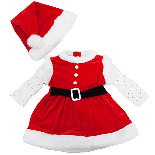 Toocool - Completo Bambina neonata Tutina Vestitino Babbo Natale Cappellino Nuovo FK826 [18/24,DJ-865]