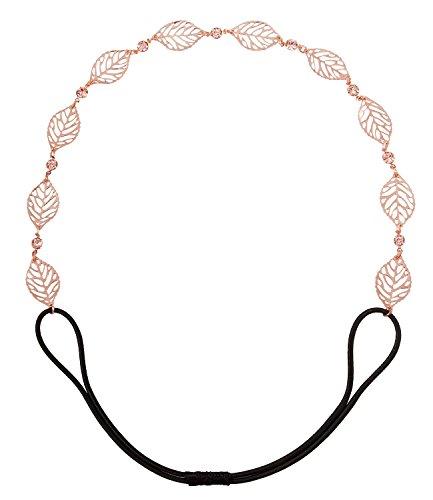 SIX Damen Haarschmuck, Haarband, Kopfkette, Accessoire, Metall-Blätter, Römer, Karneval, Strass, elastisch, roségold (252-860)