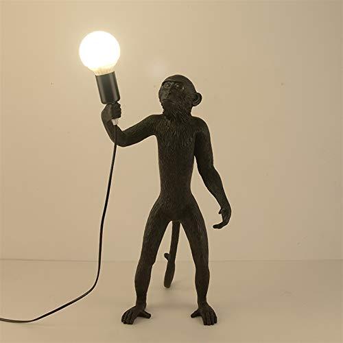 XBDD Moderne Dekor Tier AFFE Lampe Stehleuchte Harzform Vintage Küche Kunst Boden Lichter for Heimkunst Wohnzimmer Indoor Beleuchtung Stehleuchte (Lampshade Color : B Black)