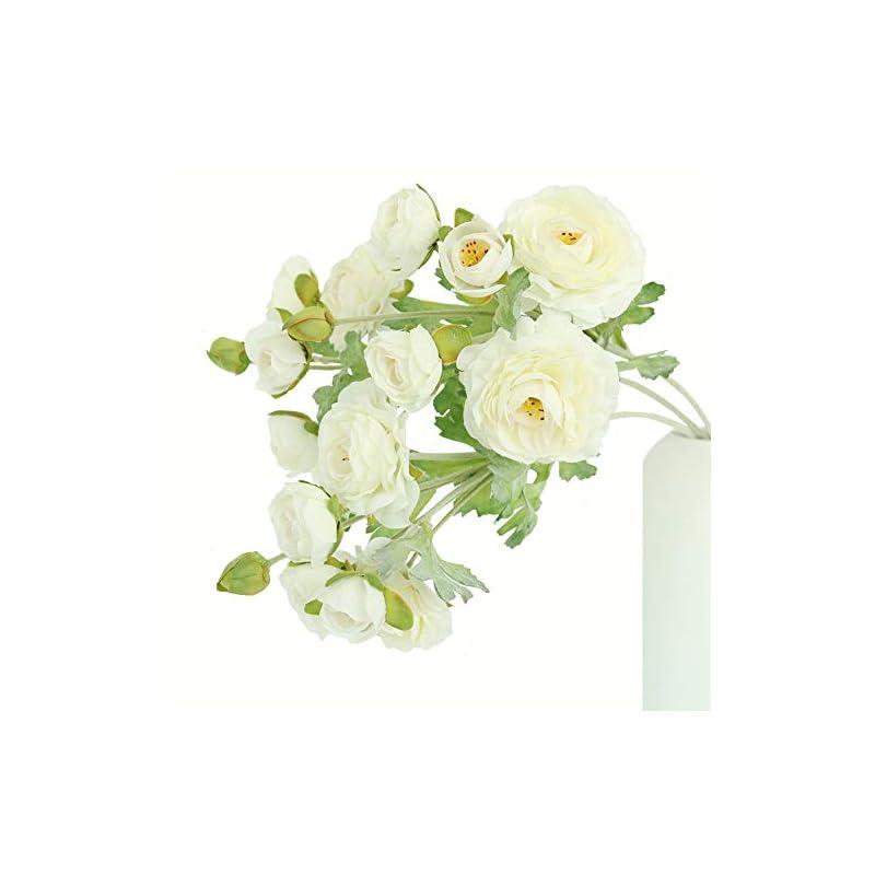 silk flower arrangements htmeing 3pcs artificial ranunculus flowers flocked stems spray diy wedding flowers silk bridal bouquets wedding centerpieces