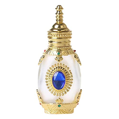 Flacon de parfum Flacon de parfum vintage Flacon de parfum décoratif vintage Flacon de parfum vintage diamant bleu plaqué or Petit flacon de parfum décoratif ( Color : Gold , Size : 1.57*3.54 inch )