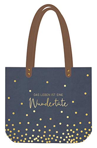 Grafik Werkstatt Shopper Leinen Damen Tasche Wundertüte, Blau/Gold