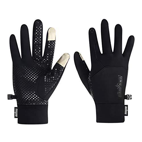 Babutenlo Guantes de Invierno Cálidos Antideslizante Pantalla Táctil Dedo Completo Ligero A Prueba de Viento Deportes Hombre Mujer (Negro, S)