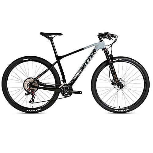 EWYI Bicicleta De Montaña Velocidad Variable, 27.5/29'' MTB Fibra Carbono, Bicicletatraviesa Absorción Impactos Horquilla Aire Controlada por Alambre Aleación Magnesio Y Black Cement Gray-29''