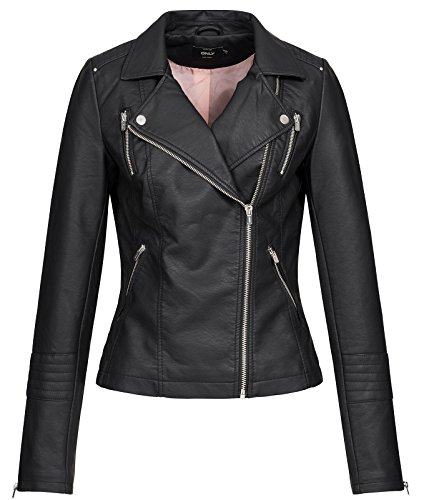 Only ONLGEMMA Faux Leather Biker Otw Noos Giacca, Nero (Black Black), 38 Donna