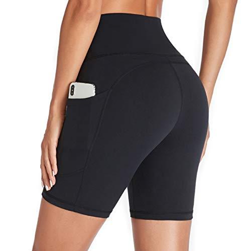 Gimdumasa Pantalones Cortos Deporte Mujer Cintura Alta Shorts Leggins Pantalones Cortos de Yoga para Correr Gym Fitness Mallas Deportivos con Bolsillos Laterales GI371 (Negro, M)