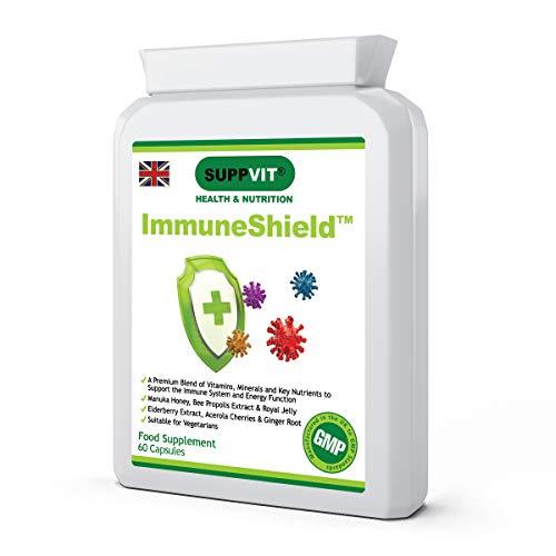 Immune Support Booster Supplement   Vitamins, Minerals & Botanicals   Acerola Cherry Extract & Elderberry Fruit Extract   Vitamins B, C, D & E   Iron, Zinc & Selenium   60 Capsules