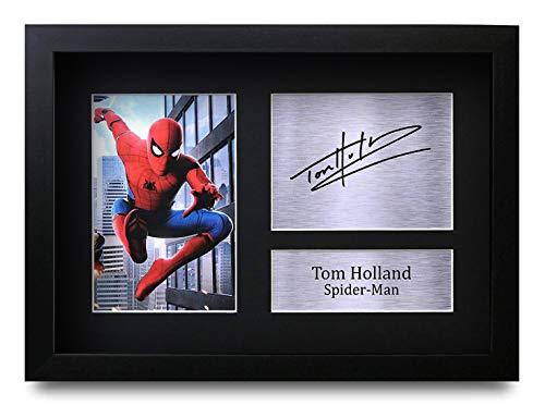 HWC Trading Tom Holland A4 Gerahmte Signiert Gedruckt Autogramme Bild Druck-Fotoanzeige Geschenk Für Spiderman Filmfans