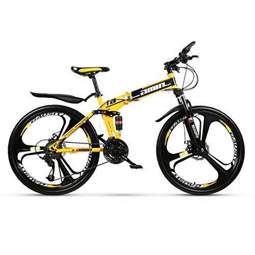 QXue 24 Inches Mountain Bike for Men and Women, High Carbon Steel Dual Suspension Frame Mountain Bike, Variable Speed Wheel Folding Outroad Bike,Yellow,24 Speed