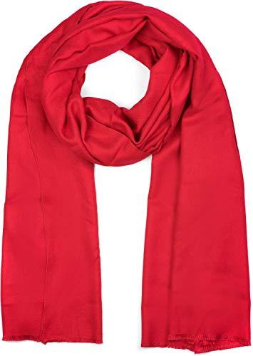 styleBREAKER weicher Stola Schal in Unifarben mit Fransen, Tuch, Unisex 01017070, Farbe:Rot