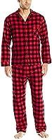 Hanes Men's Flannel Pajama Set-Red Buffalo Plaid