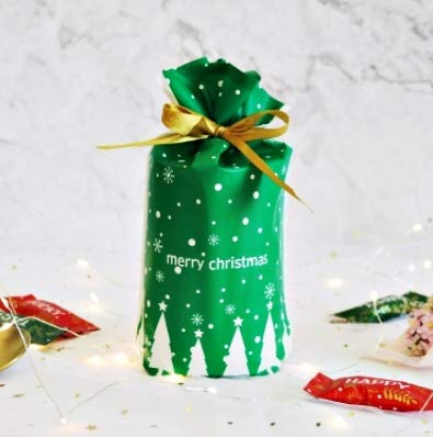 【Fuwari】 クリスマス ラッピング袋 ギフトバッグ 巾着袋 50枚 SET リボン付き マチ付き プレゼント GB1 (O)