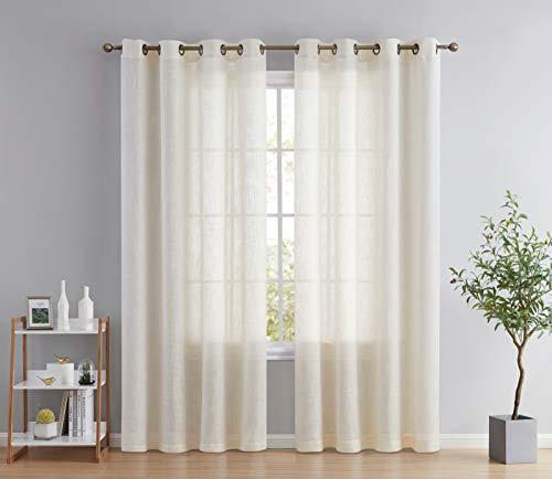 HLC.ME Abbey Faux Linen Textured Semi Sheer Privacy Light Filtering Transparent Window Grommet Floor Length Thick Curtains Drapery Panels Office & Living Room, 2 Panels (54 W x 84 L, Oatmeal Beige)