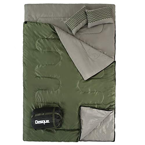 Desque Double Sleeping Bag for Camping - Backpacking Queen Size Sleeping Bag for Hiking with Detachable Design, Cold Weather 2 Person Sleeping Bag for Adults Or Teens with 2 Pillows. Car, Truck, Tent