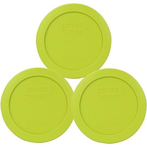 Pyrex 7200-PC 2 Cup Edamame Green Round Plastic Lid (3, Edamame Green)