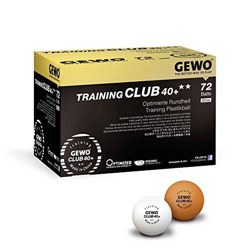 GEWO Pelota de Tenis de Mesa Unisex para Adultos, Club 40+, Color Blanco, 72 Unidades