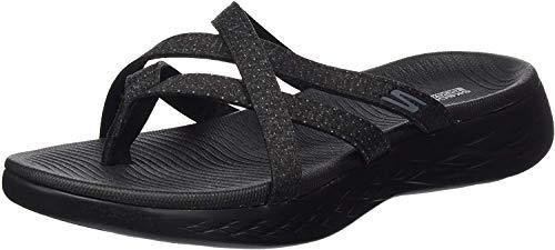Skechers Women's On The GO 600-Dainty Flat Sandal, Black/Gray, 9 Medium US