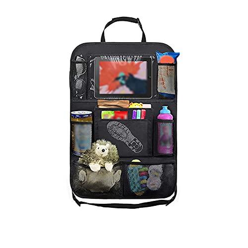 ZXCVBNM Organizador de Asiento Trasero de Coche con Bolsillos para Soporte de Mesa, Protectores de Asiento Trasero para niños pequeños, Paquete de 2 Accesorios(Color:Black,Size:24' x 16')