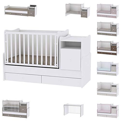 Tren Plus - Cuna de bebé evolutiva/combinada de color blanco Lorelli (la cama se transforma en: cama de adolescente, escritorio, armario multifunción)