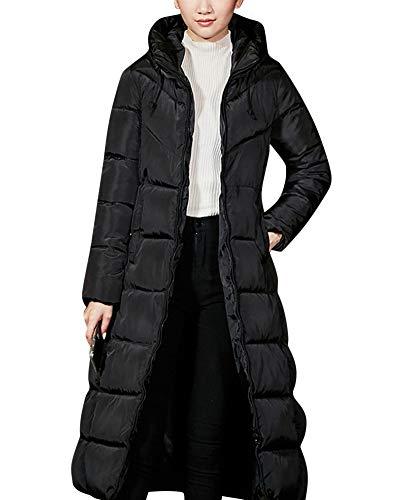 Mit Kapuze Jacke Gesteppt Mantel Reißverschluss Überzieher - Winter Warm Lange Abschnitte Ultraleicht Solide Outwear Winddicht Schwarz S