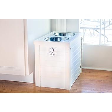 ecoFLEX Piedmont Pet Diner with Storage - Antique White