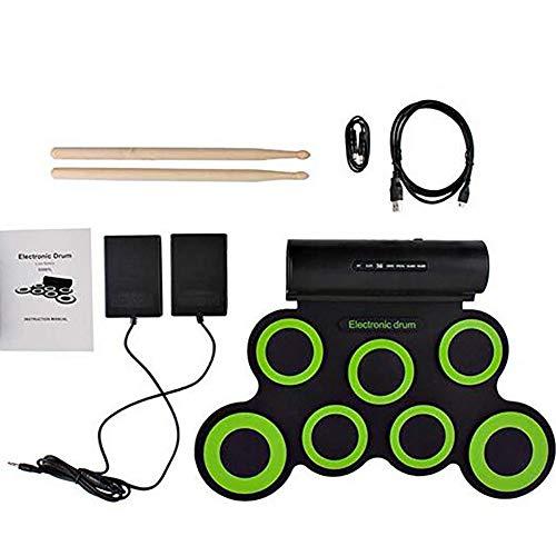 LJRdg Elektronisch drums, roll-up percussie, met koptelefoon en ingebouwde luidsprekers, trommelpedalen en drumsticks, vakantie voor kinderen en volwassenen