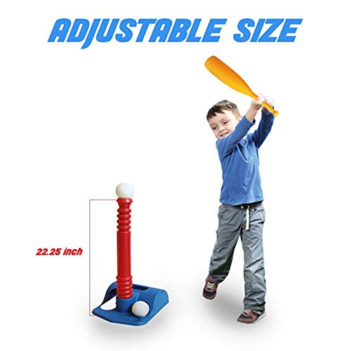Eihan T-Ball Set for Toddlers Kids Baseball Tee Game Toy Set Includes 2 Balls Adjustable T Height Improves Batting Skills