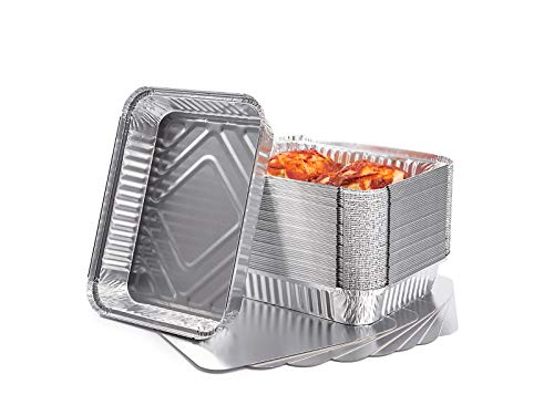 CONTITAL Contenitori in Alluminio R1L con coperchio, 2 Porzioni, Vaschette monouso Linea Professionale - 50 pezzi