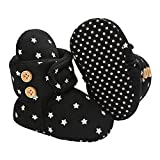 Nomere Infant Baby Slippers Girls Boys Booties Winter Warm Fleece Cozy Socks Non-Slip Sole Newborn Toddle First Walkers Crib Shoes with Grippers (Small / 0-6 Months,Black)