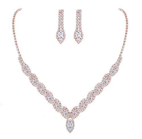 YSOUL Sparkling CZ Rhinestone Earrings Necklace Jewelry Set for Bridal Bridesmaid Wedding Evening Party Prom (Rose Gold)