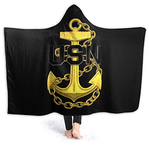OLGCZM US Navy Master Chief Petty Officer Anchor Super Soft Light Weight Throw Wearable Hooded Blanket Sherpa Fleece Summer Quilt for Bed Couch Sofa