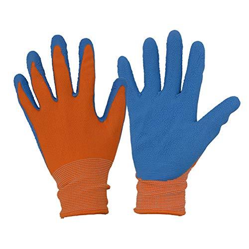 HANDLANDY Gartenhandschuhe für Kinder von 11-13 J.A,Gummihandschuhe aus Schaumstoff,Arbeitshandschuhe für Mädchen und Jungen,Orange und Blau,2 Paar,gr 6