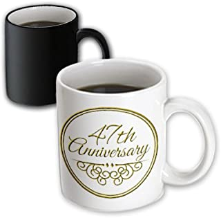 3dRose 154489_3 47Th Anniversary Gift Mug 11 oz Black/White