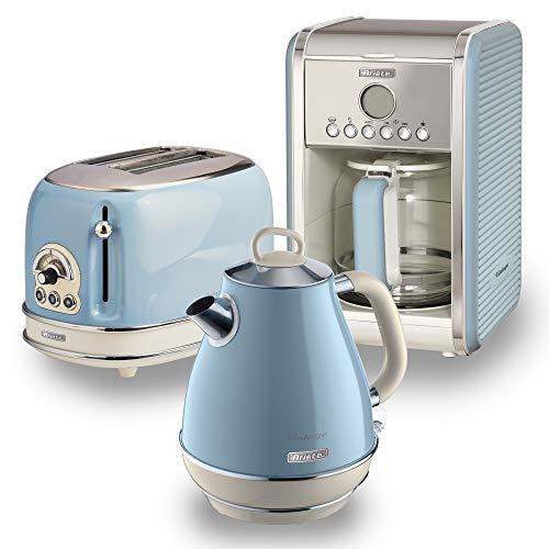 Ariete ARPK9 Retro Style Jug Kettle, 2 Slice Toaster and Filter Coffee Machine Set, Vintage Design, Blue