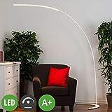 Lampenwelt LED Stehlampe (Bogenleuchte) 'Danua' dimmbar (Modern) in Weiß aus Metall u.a. für Wohnzimmer & Esszimmer (1 flammig, A+, inkl. Leuchtmittel) - LED-Stehleuchte, Floor Lamp, Standleuchte