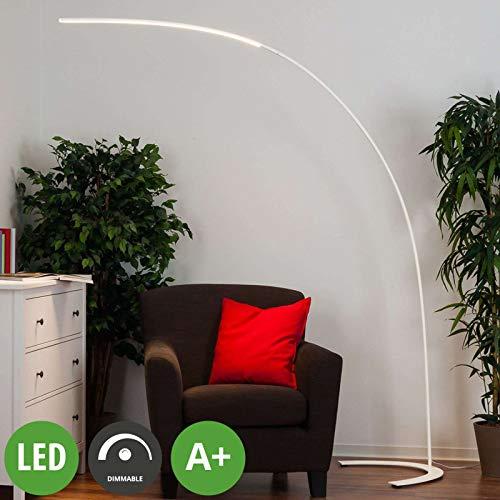Lindby LED Stehlampe (Bogenleuchte) 'Danua' dimmbar (Modern) in Weiß aus Metall u.a. für Wohnzimmer & Esszimmer (1 flammig, A+, inkl. Leuchtmittel) - LED-Stehleuchte, Floor Lamp, Standleuchte