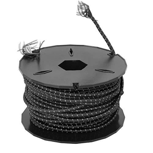 Cuerda elástica de látex para tienda de campaña al aire libre, resistente al desgaste (Black reflectivo)