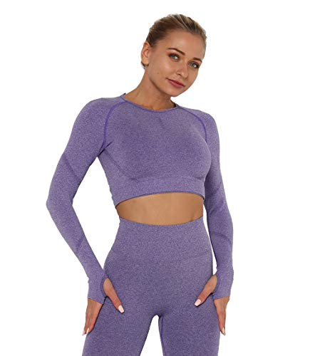 KIWI RATA Yoga Camiseta Deportiva Mujer Manga Larga sin Costuras Crop Top Deporte para Fitness Running Gimnasio Elásticos y Transpirables