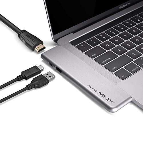 Mini NEO SD4 USB-C Multiport 480 GB SSD Hub per Apple MacBook Air/Pro | HDMI 4K @ 60Hz | Thunderbolt 3 | USB 3.0, venduto da Minix Technology Limited.(grigio spazio)