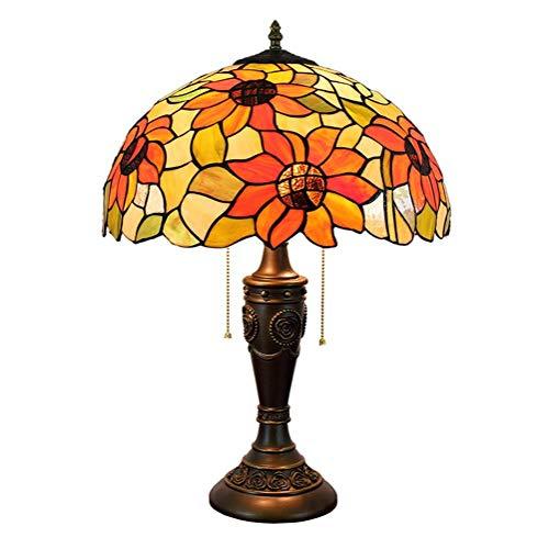 ZGQA-GQA Sun Flower Vector de Tiffany Pantalla de lámpara de 16 Pulgadas del Estilo del vitral de Tiffany Cubierta Habitación (40 cm) Vida de la lámpara lámpara de cabecera