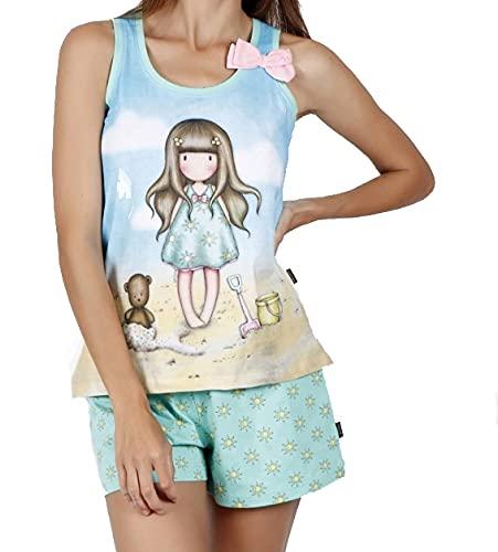 Santoro Gorjuss Pijama de 2 piezas, camiseta + pantalón corto de algodón para primavera y verano, original y auténtico, ideal para niña/mujer, en caja de regalo Sun 55502 M