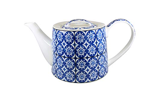 Jameson & Tailor Retro Teekanne Kaffeekanne Fliesen blau/Weiss Brillant-Porzellan 1000ml Füllmenge
