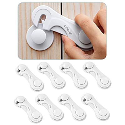 Cabinet Locks, Baby Safety Cabinet Latches, 8 Pack with Strong Adhesive Tape - Child Proof Cabinet Locks for Kitchen, Bathroom Storage Doors