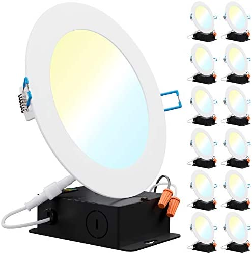 Sunco Lighting 12 Pack 6 Inch Slim LED Downlight with Junction Box Select from 5 Colors 2700k product image