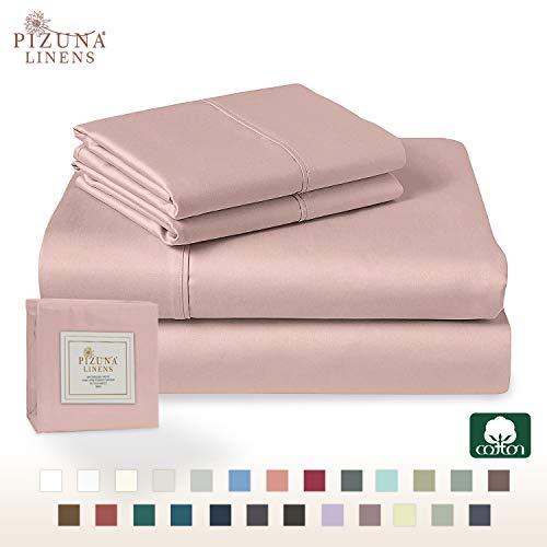 Pizuna 400 Thread Count Cotton Queen Duvet Cover Set Rose, 100% Long Staple Pure Cotton Duvet Covers, Soft Sateen Quilt Cover Set with Button Closure (Rose Queen-Full Duvet Cover Sets)